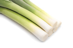 Fresh leeks on white background Stock Image