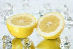 Fresh lemon. With ice cubes stock images