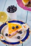 Fresh lemon and blueberry cake Royalty Free Stock Photos