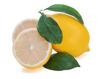 Fresh lemon citrus with cut Stock Image