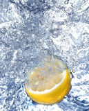 Fresh lemon in cold water Stock Image