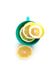 Fresh lemon in cup. Slice of fresh lemon in cup for tea Stock Photography