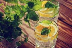 Fresh lemon drink with ice. and mint.  Toning image Royalty Free Stock Image
