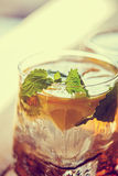 Fresh lemon drink with ice. and mint.  Toning image Stock Images