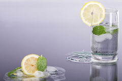 Fresh lemon drink with mint. Fresh lemon drink with mint and ice Royalty Free Stock Image