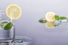 Fresh lemon drink with mint. Fresh lemon drink with mint and ice Royalty Free Stock Photo