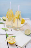 Fresh  lemon drink with slices of lime and lemon Royalty Free Stock Photo