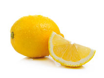 Fresh lemon with drop water on white background Stock Image