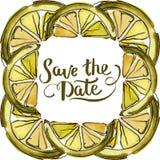 Fresh lemon fruit healthy food. Watercolor background illustration set. Frame border ornament square. Fresh lemon fruit healthy food. Watercolor background royalty free illustration