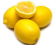 Fresh lemon fruit over the white background Stock Image