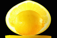 Fresh lemon fruit on slice Royalty Free Stock Images