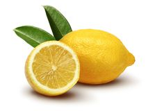 Fresh lemon fruits with leaves. Isolated on white background royalty free stock photos