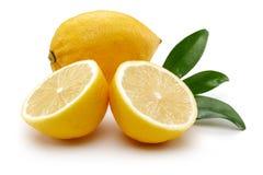 Fresh lemon fruits with leaves. Isolated on white background stock photography