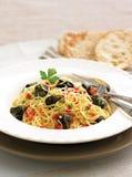 Fresh lemon and garlic pasta royalty free stock image