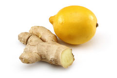 Fresh lemon with ginger. The isolated white background Stock Photos