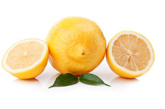 Fresh lemon with green leaf Stock Photo