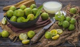 Fresh Lemon. Group of fresh lemon on old wooden background stock photos
