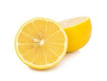 Fresh  lemon  with  half isolated on white background Stock Photo