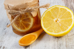Fresh lemon and honey on wooden table, healthy nutrition Stock Photography