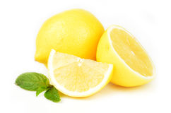 Fresh lemon isolated on white background Stock Images