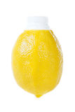 Fresh lemon juice in original packing Stock Photos