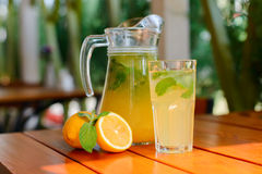Fresh lemon  juice on the summer terrace Stock Photo