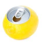 Fresh lemon juice in a tin Stock Photo