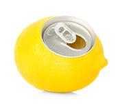 Fresh lemon juice in a tin Stock Photos