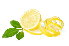 Fresh lemon and lemon peel. On white royalty free stock photos