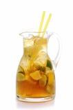 Fresh lemon and lime lemonade isolated on white background, summer fruit drink photography Royalty Free Stock Images