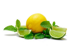 Fresh Lemon, Lime and Mint. On white background Royalty Free Stock Photos