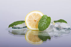 Fresh lemon with mint. Fresh lemon with mint and ice Royalty Free Stock Photos