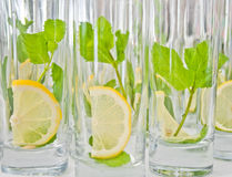 Fresh lemon and mint in glass Stock Photos