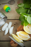 Fresh lemon and mint. Stock Images