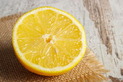 Fresh lemon on old white wooden table, healthy food and nutrition Royalty Free Stock Images