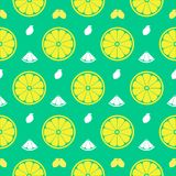 Fresh lemon, orange fruits seamless pattern background vector fo. Rmat Stock Image