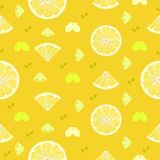 Fresh lemon, orange fruits seamless pattern background vector fo Royalty Free Stock Photography