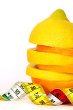 Fresh lemon and orange with measuring tape Stock Photos