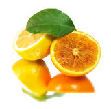 Fresh lemon and orange pulp Royalty Free Stock Images