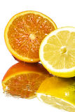 Fresh lemon and orange pulp Royalty Free Stock Photo