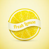 Fresh lemon with ribbon royalty free illustration