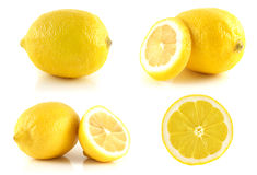 Fresh lemon set, isolated on white background. Royalty Free Stock Photo