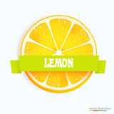 Fresh lemon slice with stripe Royalty Free Stock Images