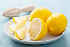 Fresh lemon sliced over blue Stock Photo