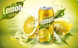 Fresh lemon soda ad. With cool water flows and lemon leaf elements, 3d illustration vector illustration
