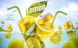 Fresh lemon soda ad. With metal can fused with fresh lemon, ocean background 3d illustration royalty free illustration