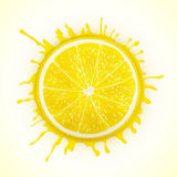 Fresh lemon with splash stock illustration