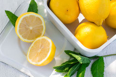 Fresh lemon and a sprig of mint Royalty Free Stock Photos