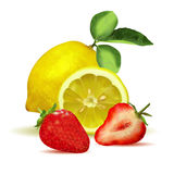 Fresh lemon, strawberry and slices Royalty Free Stock Images
