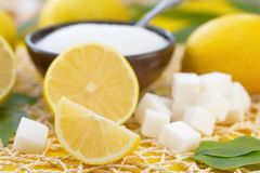 Fresh lemon and sugar royalty free stock photography